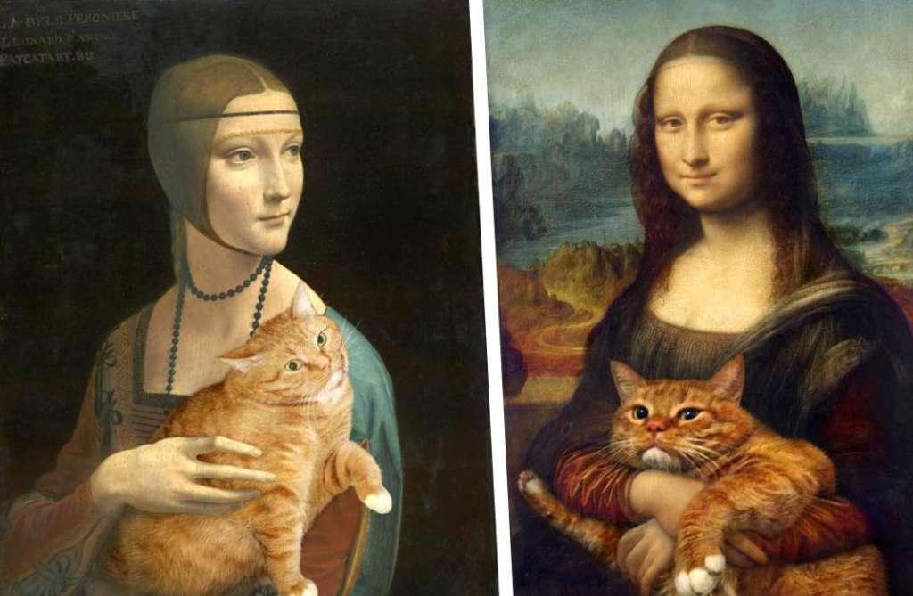 Картинки по запросу Леонардо да Винчи  с кошкой